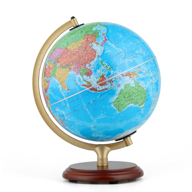博目地球仪:25cm中文政区灯光AR地球仪(木座合金架)