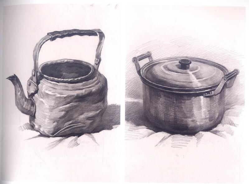 铝制水壶素描图片步骤