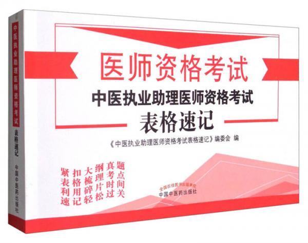 医师资格考试:2017中医执业助理医师资格考试表格速记